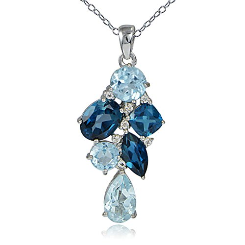 Sterling Silver London Blue, Blue Topaz and White Topaz Tonal Cluster Necklace ()