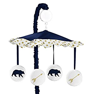 Sweet Jojo Designs Navy Blue, Gold, and White Musical Baby Crib Mobile for Big Bear Collection by