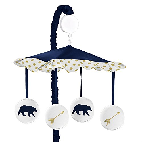 Sweet Jojo Designs Navy Blue, Gold, and White Musical Baby Crib Mobile for Big Bear Collection by (Bear Pink Crib)