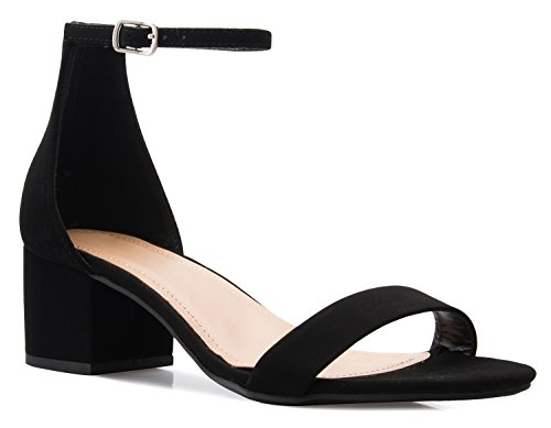 OLIVIA K Women's Ankle Strap Kitten Heel - Adorable Low Block Heel
