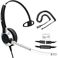 Deluxe Single Ear Headset With Noise Reduction Voice Tube and Adapter Compatible with Yealink T19 T20 T21 T22 T23 T26 T27 T28 T29 T32 T41 T38 T41 T42 T46 T48 T52 T54, Snom and Grandstream IP Phones