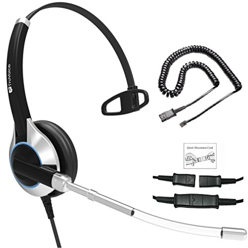 Deluxe Single Ear Headset with Noise Reduction Voice Tube and Adapter Compatible with Yealink T19 T20 T21 T22 T23 T26 T27 T28 T29 T32 T36 T38 T40 T41 T42 T46 T48 T52 T54, Snom and Grandstream Phones Duo Set Voice Tube