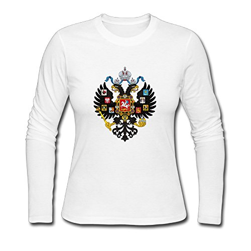 (Women's Fashion Coat Of Arms Of Russian Empire Long-sleeve T White US Size L )