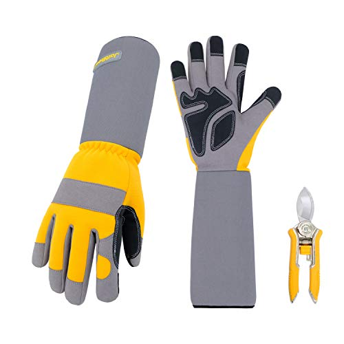 Jardineer Thornproof Gardening Gloves, Professional Rose Bush Gloves with Long Forearm Protection, Rose Cutting Gloves for Yard Work, Puncture Resistant Rose Pruning Gloves Women M