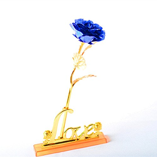 24K Gold Plated Rose Flower Creative Gift Thanksgiving,Valentine's Day,Mother's Day Gift (Blue)