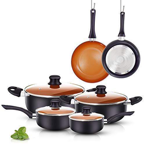 FRUITEAM 10pcs Cookware Set Ceramic Nonstick Soup Pot, Milk Pot and Frying Pans Set, Copper Aluminum Pan with Lid…