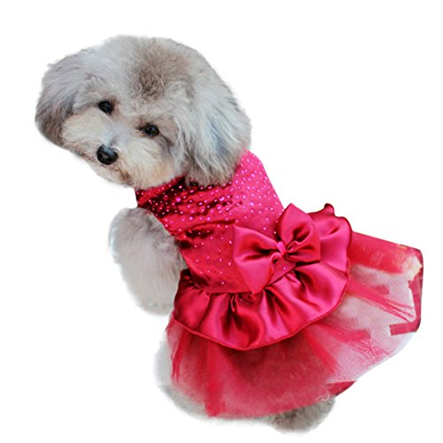 Smart Cute Pet Puppy Clothes Apparel Tulle Skirt Bowknowt Dogs Tutu Dress Red - Dogs Apparel Cute