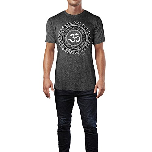 SINUS ART ® Henna Tattoo Mandala Herren T-Shirts in dunkelgrau Fun Shirt mit tollen Aufdruck