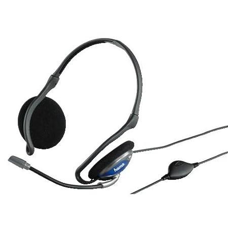 Hama PC Headset mit Nackenbü gel (3,5 mm Klinkenstecker, 2 m Kabel) schwarz 00053979