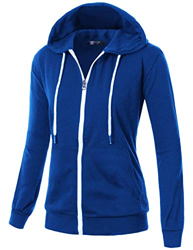 GIVON Womens Comfortable Long Sleeve Lightweight Zip-up Hoodie with Kanga Pocket/DCF200-RED-L
