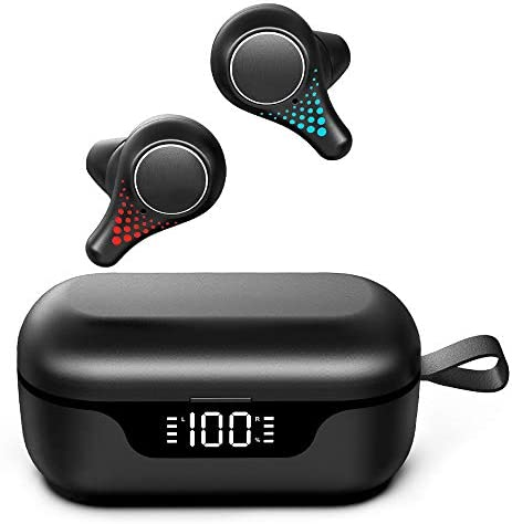 Tikland True Wireless Earbuds Bluetooth 5.0, Bluetooth Earbuds with Mic, 10mm Composite Diaphragm, IPX7 Waterproof, CVC8.0 Noise Cancelling, up to 35H Playtime with Mini Charging Case