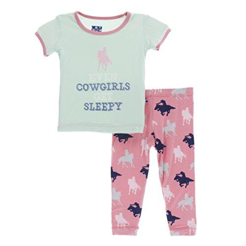 Cowgirl Set - Kickee Pants Little Girls Print Short Sleeve Pajama Set, Strawberry Cowgirl, Girls 5 Years