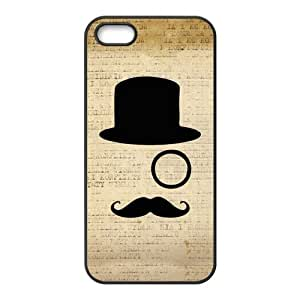 Hipster Mustache Monocle Hat Sir Vintage Retro Print Back Case Cover For Apple iPhone 5 (Silicone Rubber)