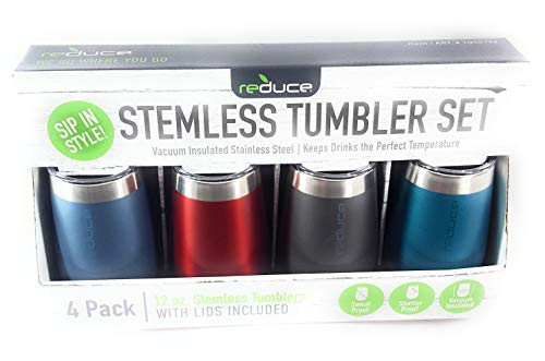 Stemless Tumblers Set - Stemless Vacuum Insulated Stainless Steel Tumbler Set of 4 (lids included)