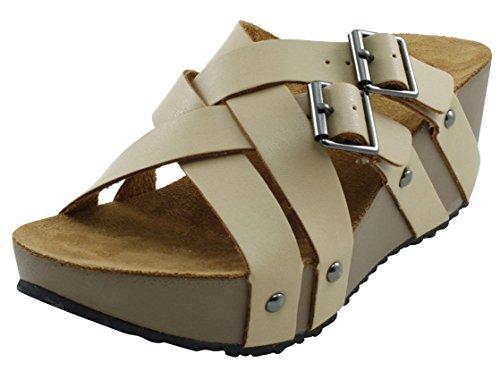 Cambridge Select Womens Open Toe Woven Strappy Buckle Slip-On Platform Wedge Sandal Beige