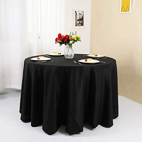 Zdada Polyester Table Cloth Banquet Wedding Party Picnic Round Black 120inch Polyester Table Cover