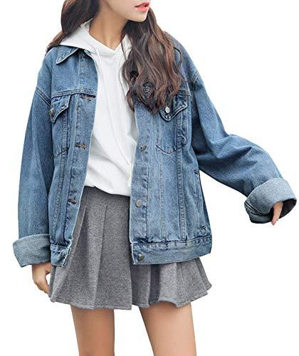 Yeokou Womens Junior's Oversized Boyfriend BF Loose Baggy Denim Jean Jacket Coat (Large, Light Blue) by Yeokou