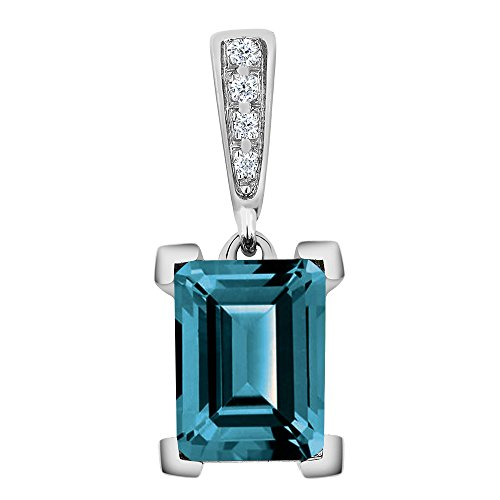 10K White Gold Octagon London Blue Topaz and Diamond Pendant With Chain 1.95 Cttw