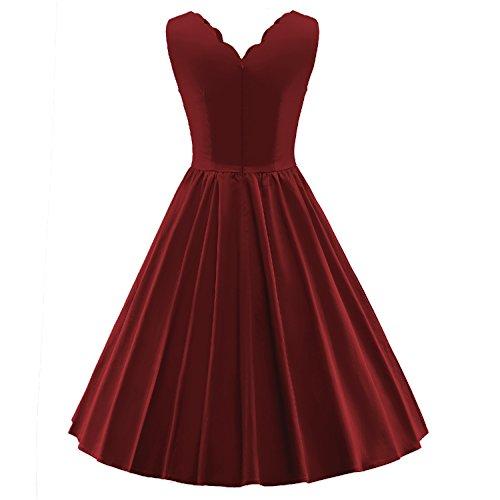 vestidos mujer retro vintage cuello de encaje Rockabilly swing de fiesta V083-vino