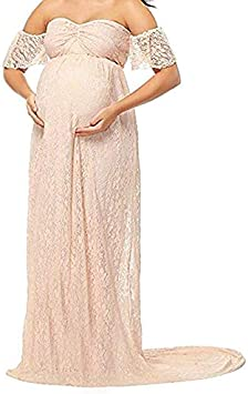 Small, Beige Womens Off Shoulder Ruffle Sleeve Lace Maternity Gown Maxi Photography Dress