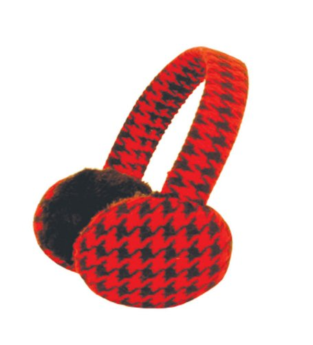 Red Checked Faux Fur Ear Muffs - Bright Faux Fur Ear Muffs With Classic Checkered Print In Red And Black (Insulated Ear Muffs compare prices)