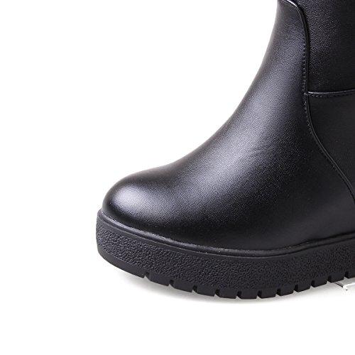 Draagarmen Voor Dames Pull-on Op Stuurstand Platform Wiggen Over De Knielaarzen Zwart