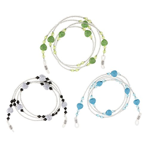 MonkeyJack 3pcs Glasses Acrylic Beaded String Eyeglass Eyewear Reading Glasses Cord Holder Necklace Chain Strap Lanyard - Beaded Strings Spectacle