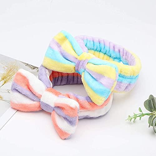 VGOODALL Bow Hair Band, 8 Pcs Soft Carol Fleece Hairlace Headband Turban Bowknot Bow Makeup Shower Headbands Headwraps for Washing Face Shower Spa Mask, Multiple Styles
