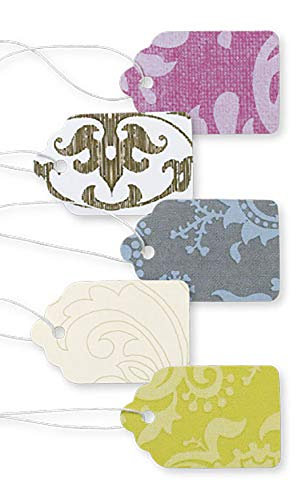 Boutique Strung Colorful Damask Paper Price Tag Assortment - 1 1/16