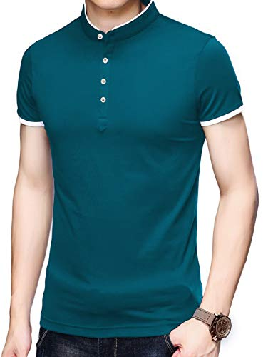 Men/'s Casual Slim Fit Shirts Pure Color Short Sleeve Polo Fashion T-Shirts