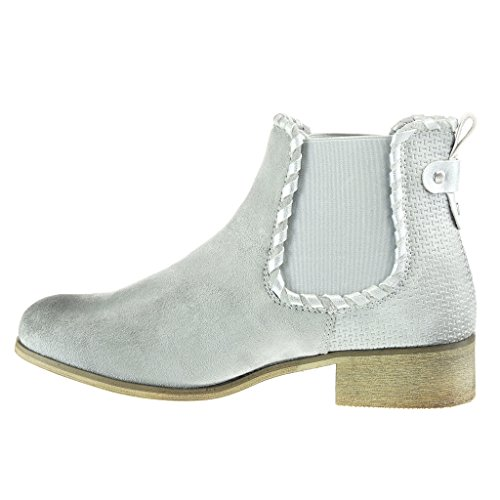 Angkorly - Zapatillas Moda Botines cavalier bimaterial mujer zapato acolchado nodo camuflaje Talón Tacón ancho 3.5 CM Gris
