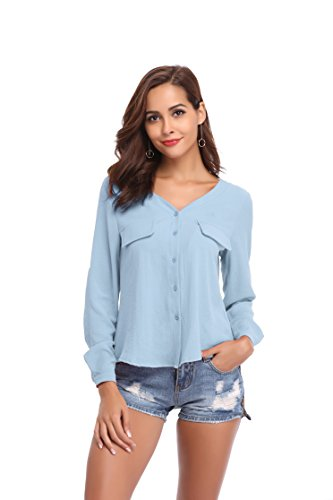 LYHNMW YHNMW Women's Casual Button Down Shirt Loose Roll-up Sleeve Tops Chiffon V-Neck Blouse by LYHNMW (Image #3)