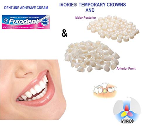 Temporary Teeth Crowns and Denture Adhesive Cream (Anterior Front Teeth)