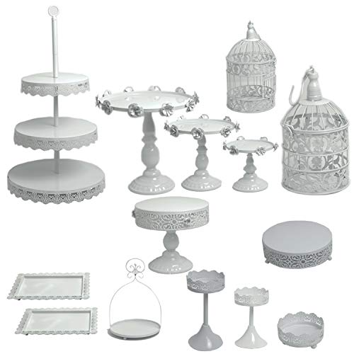Proshopping 14 Set Antique Metal Cake Stand, Classical Round Cupcake Holder, Cake Plate Tray, Cookie Pedestal Display Tower, for Wedding Birthday Party, with Crystals Pendants and Beads, White