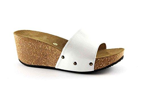 GEMMA 1404 zapatillas blancas obstruye cuña de las mujeres de cuero tachonado cinturón Bianco