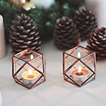 Waen Candle Holders Collection Stained Glass Geometric Candle Holder Set of 2 - Cuboctahedron (Copper, Silver, Black)