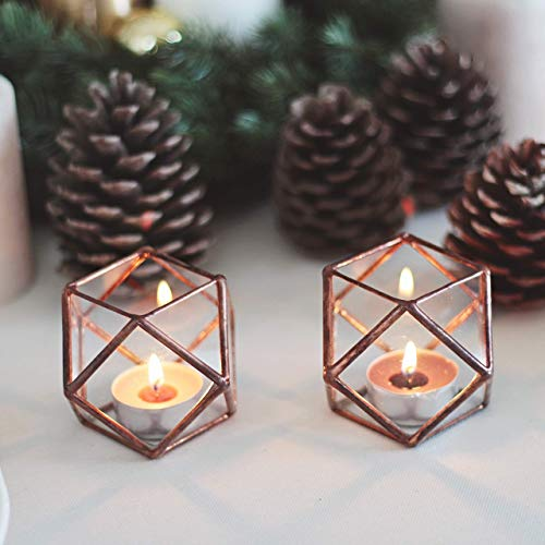 - Waen Candle Holders Collection Stained Glass Geometric Candle Holder Set of 2 - Cuboctahedron (Copper, Silver, Black)
