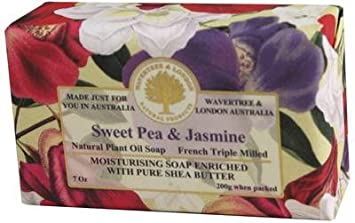 Wavertree and London Sweet Pea and Jasmine Australian Natural Luxury Soap Bar 7 Ounces 4 Bars
