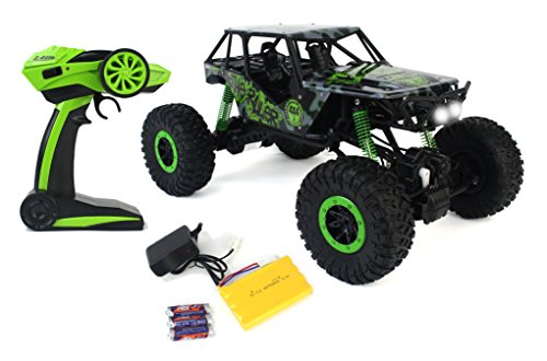 Rock Crawler Suspension (Remote Control Crazy SUV Rock Crawler 4WD Green Toy Car Rally RC 2.4 GHz 1:10 Scale Size w/ Working Suspension, Spring Shock Absorbers)