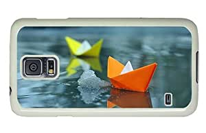 Hipster Samsung Galaxy S5 Case pretty paper boats PC White for Samsung S5