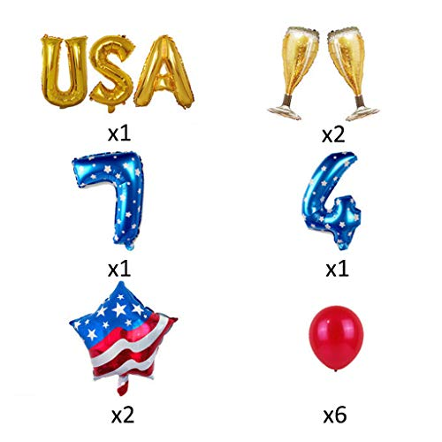 Xisheep Independence Day Balloons Independence Day Balloons Round Sequin Balloons