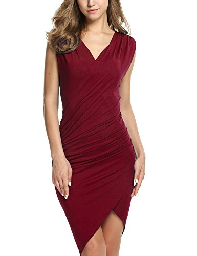 ANGVNS Women Sleeveless V Neck Bodycon Party Pencil Dresses (L, Wine Red)