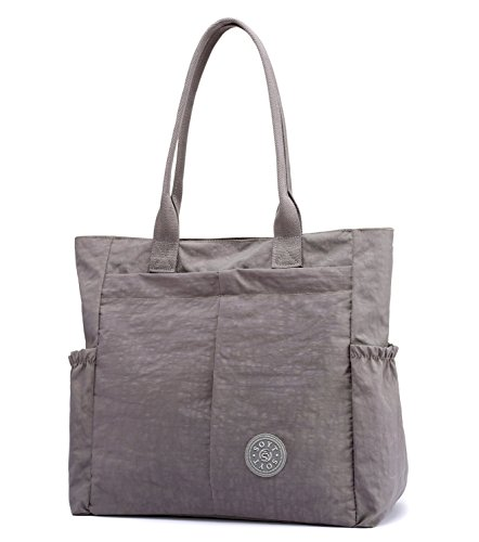Nylon Water Resistant Multi Pockets Large Lightweight Tote Bag Shoulder Bag Waterproof Handbags (LightGray HB) by MORHUA (Image #1)