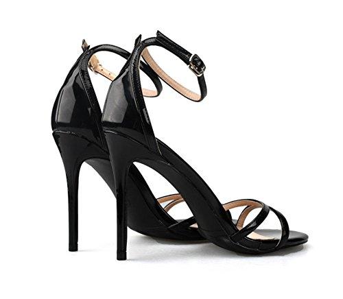 Dedo Paseo 35 black Sandalias del 44 ZPL pie Mirar furtivamente Mujer Talones Zapatillas Estilete Tobillo Alto Grande Tamaño Fiesta Noche Strappy U6zvRwp