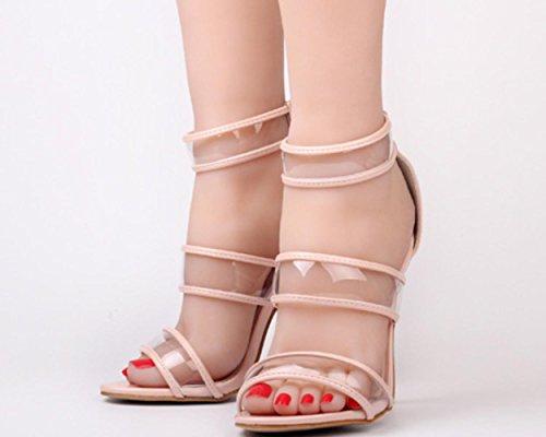 YCMDM cinturino alla caviglia donne pattini delle pompe aperte in punta trasparente sandali di plastica con tacco alto Passerella Incontri Party Shoes Shoes Charming delicato Scarpette , pink , 37