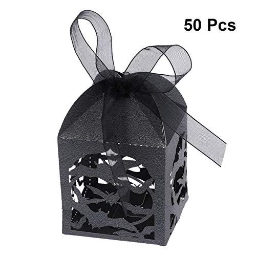 BESTOYARD ハロウィンバットボックスキャンディボックス中空ダイカット好意ボックスウェディングキャンディボックスハロウィンギフトボックス50PCS(黒)