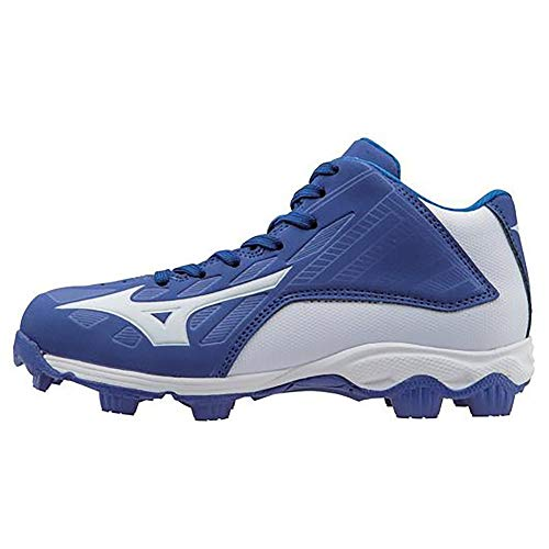 Mizuno 9 Spike ADV YTH FRHSE8 MD RY-WH Youth Molded Cleat (Little Kid/Big Kid), Royal-White, 2.5 M US Little Kid