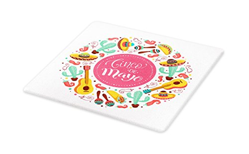 Lunarable Cinco De Mayo Cutting Board, Circular Shape Background with Typography May Five Mexican Culture Elements, Decorative Tempered Glass Cutting and Serving Board, Large Size, Multicolor by Lunarable