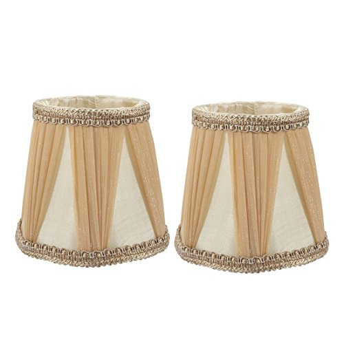 uxcell 2pcs 9cm-12.5cm Dia 12cm Height Cloth Lamp Cover Shade Lampshade Light Brown