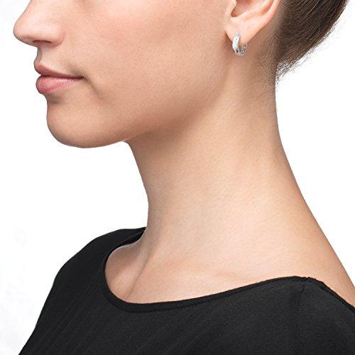 Créoles Or Boucles d'oreilles Femme-3338CT or blanc diamètre 14mm neuf (159516)